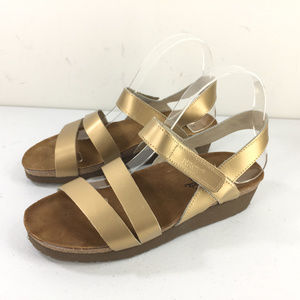 NAOT Gold Demi Wedge Sandals Krista Cork 8 EUr 39